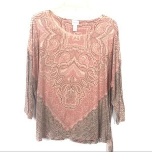 Chico's 3 scope neck 3/4 sleeves blouse.